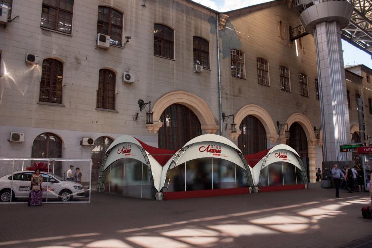 Дуговой шатер - летняя веранда на Казанском вокзале Конструкция 5х10м