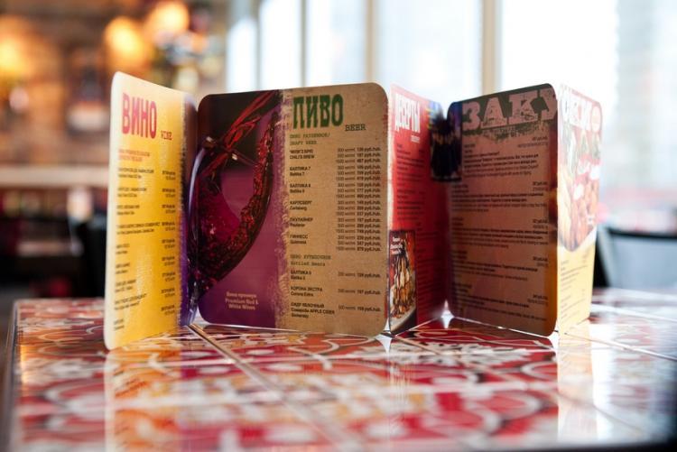 Сокращенное меню международного ресторана  Chili's.